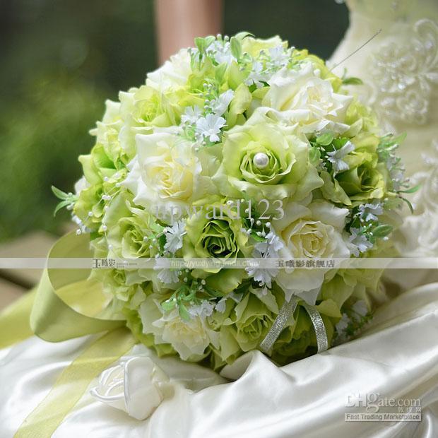 Bridal Flowers Green : Beautiful romantic pe wedding bouquet green artificial