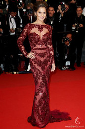Wholesale New Sexy Evening dresses Cheryl Cole lace Zuhair Murad long sleeve Inspired by Cannes Festival wonderful Celebrity Dresses