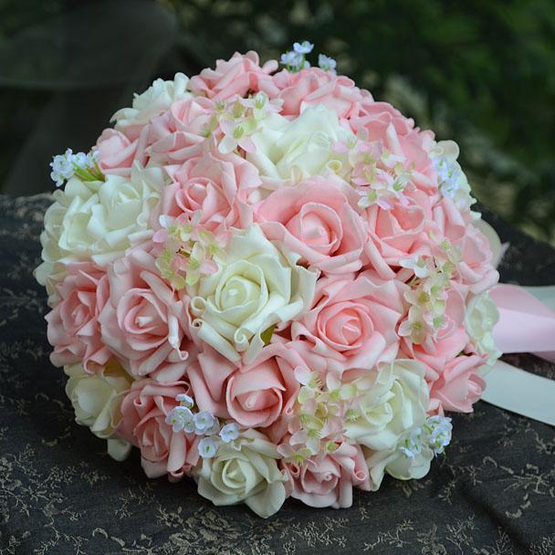 Light Pink Wedding Flowers Names New Style Handflower Bouquet Artificia Rose
