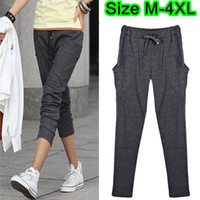 Wholesale Plus Size Lady s Black Gray Harem Pants Soft Cotton Pencil trousers Elastic Waist Pleat Pocket Slim Sports Pants Size M L XL XXL XXXL