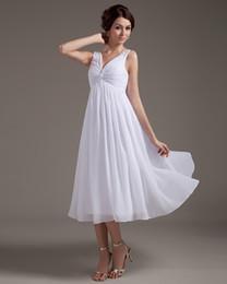 Fashion Discount A line Deep V-neck Sleeveless Tea Length White Chiffon Pleated Beach Wedding Dresses Garden Bridal Dresses Wedding Gowns