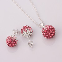 Wholesale New Arrival Shamballa Jewelry Set Brand New Gradient CZ Disco Pave Crystal Ball Pendant Necklace Stud Earrings Silver Chain Mix Color