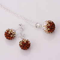 Silver Plate/Fill Celtic Wedding New Arrival Shamballa Jewelry Set Brand New Gradient CZ Disco Pave Crystal Ball Pendant Necklace+Stud Earrings+925 Silver Chain Mix Color