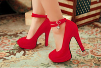 PU High Heel Round Toe 2013 Newest Women fashion Diamond Bridal wedding shoes gril Round heel suede waterproof Lady High-Heeled heel shoes for evening dress prom