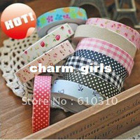 Wholesale DIY office adhesive japan printed fabric tape cotton printed dots floral check tape each roll in pvc box