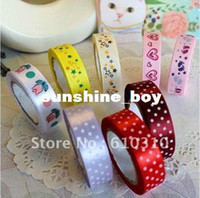 Wholesale cute cartoon colorful silk ribbon tape fashion fabric Adhesive Tape Multifunctio