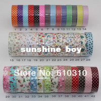 Wholesale Free EMS or DHL mixed designs DIY office decorative adhesive printed fabric tape assortment