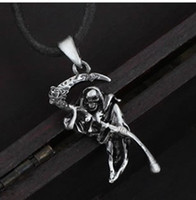 Wholesale Sample order alloy Crystal fashion jewelry Gothic Rose scythe death god pendant necklace Sweater chain