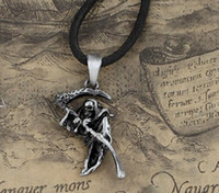 Wholesale alloy Gothic pendants for men Gothic Rose scythe death god pendant necklace Sweater chain