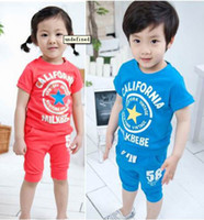 Cheap Boy girl Clothing Set sport suit - 5pcs lot 2013 Summer Set Cotton children's tracksuit Free Shipping