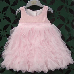 Wholesale Baby Girl s TUTU Dresses Europe and America Wedding Party Sleeveless Slip Pink White Pure Color Sequins Multilayer Cotton Yarn Dress