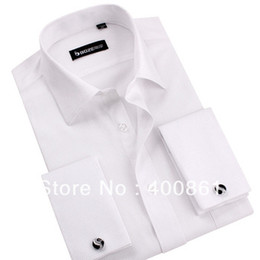 Wholesale White Frenchy Long Sleeve Shirt Formal Men s Shirts With Cufflink cuff button