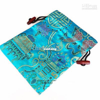 Wholesale New Arrive Pretty Kid Travel Shoe Storage Bag Small Drawstring Reusable Silk Brocade Shoe Packaging Pouch with lined mix color Fre