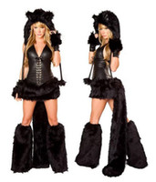 Wholesale High quality black Sexy Furry Furry Costume Halloween Cat Wolf Leopard Nightclub DS Clothing