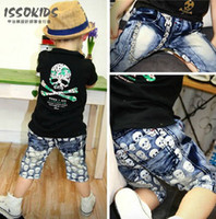 Wholesale ISSOKIDS boys denim shorts skeleton jeans children pants kids jeans boys short jeans cotton skull short jeans Halloween Gifts T pc