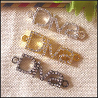Wholesale 30PCS Clear Rhinestones Diva Charm Connector Sideways Bracelet Beads Pendants Charms For Making Jewelry Findings In Color