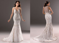 Wholesale Hot Item Elegant Sheath Column Dresses V Nick Sleeveless Court Train with Embroidery Court Garden Wedding Dresses