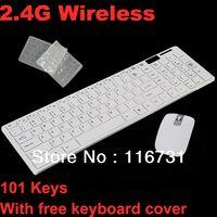 Wholesale 2 Ghz USB Wireless Slim Keyboard With Optical Mouse Combo Set For PC Desktop Laptop Keys White