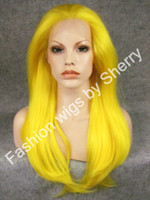 Wholesale 24 quot Long Silky Straight Density Heat Friendly Synthetic Hair Lace Front Fashion Carnival Yellow Wig S02