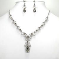 Crystal, Rhinestone Alloy Celtic Wholesale H142 H1 Black Diamond Crystal Rhinestone Wedding Party Prom Flower Pendant necklaces & earrings Sets