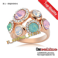 Wholesale Exaggerated Ring K Rose Gold Plate Women Rings With Austrian Crystal mm Ri HQ0004