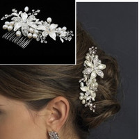 Silk Flower Comb  Free Shipping Wedding Bridal Jewelry Crystal pearl Stunning wedding bridal flower hair accessory headdress Bridal headwear