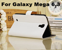Leather For Samsung  20pcs Luxury Litchi PU Wallet Flip Leather Case Cover With Credit Card Slots Slot Money Pocket For Samsung Galaxy Mega 6.3 i9200