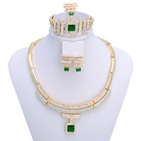 Wholesale Green Rhinestone Pendant Elegant Costume Fashion K Jewelry set A007