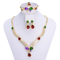 Wholesale 2015 Good Quality party k Gold Plated Colorful Fashion gifts Necklace jewelry set A008