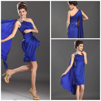 Wholesale NEW ARRIVAL ONE SHOULDER SHEATH MINI CHIFFON FABRIC PLEATED RUFFLES CRYSTAL SHORT PROM GOWNS LOVELY COCKTAIL GOWN ROYAL BLUE PARTY DRESS