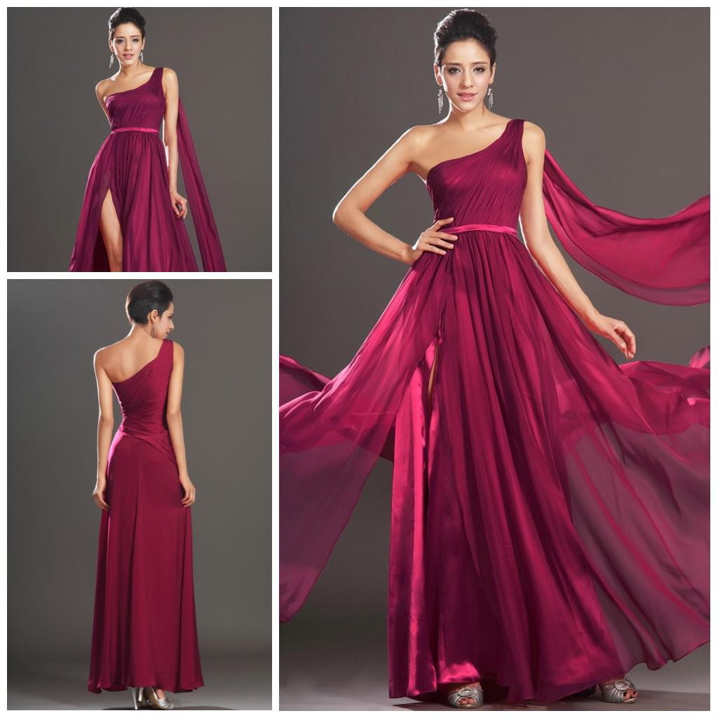 Best selling one shoulder a line slit side chiffon summer beach best selling one shoulder a line slit side chiffon summer beach long burgundy bridesmaid dresses formal evening dress simple plus prom gowns long formal ombrellifo Gallery