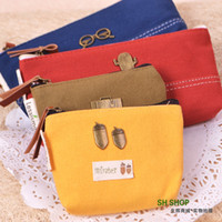 Cheap Free shipping Shining stationery vintage canvas storage bag coin purse coin pouch stationery bags pencil case