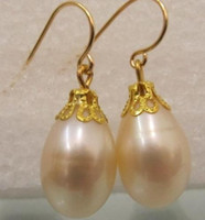 South American australian earrings - 16mm Australian south sea white pearl earrings KG