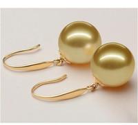 gold australian earrings - 10 mm natural Australian south sea golden pearl earrings K