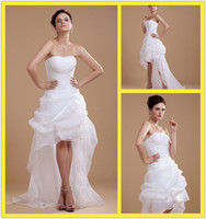 Reference Images Strapless zipper or lace up 2013 Dazzling Strapless Beads Pleat Organza High Low Beach Wedding Dresses Discount Front Short Back Long Wedding Dress Summer Bridal Gowns