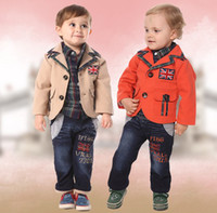 Wholesale Korean kids clothing England cell shirts washery water jeans business suit coat boys suit year baby set size set