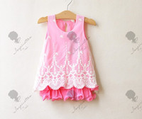 2-6year Summer Sleeveless Korean baby clothing foreign flavour embroider chiffon girl dress 2-7year kids dresses 6size pink 6pcs lot