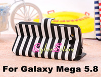 Leather For Samsung  50pcs Fashion Colorful Strip Wallet Flip PU Leather Case Cover With Credit Card Slots Slot Pouch For Samsung Galaxy Mega 5.8 i9150