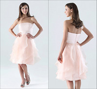 Reference Images Ruffle Sleeveless 2014 new arrival light pink strapless layered ruched A-line chiffon knee length bridesmaid dress for wedding GF406