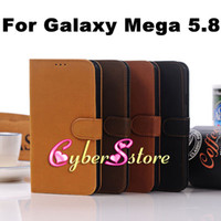 Leather For Samsung  50pcs Luxury Retro vintage Book Style Wallet Flip PU Leather Case Cover With Credit Card Slots Slot Pouch For Samsung Galaxy Mega 5.8 i9150