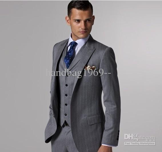 Side Slit Dark Gray Two Buttons Peak Lapel Groom Tuxedos Best Man ...