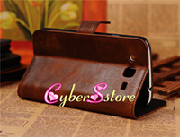 Leather For Samsung  50pcs New Crazy Horse Retro Wallet Flip PU Leather Case Cover With Credit Card Slots Slot Pouch For Samsung Galaxy Mega 5.8 i9150