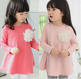 Wholesale Promotion price baby girls spring autumn tank tops fashion western style kids girls long sleeves round neck tshirts T shirts color