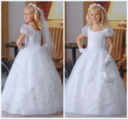 Wholesale Custom made Sizes available Lovely White Square Full length Ball gown Lace Organza Stain First communion dress