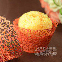 Wholesale Fedex Mixed color Candy box Laser cutting Cupcake wrappers DGW06E Cake cup wedding favors gift