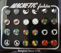 Pack of 12pair 7mm Magnetic Non- pierced Logo Stud Earrings P...