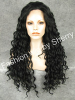Wholesale 26 quot Extra Long Black Heat Friendly Synthetic Hair Fashion Curly Wig