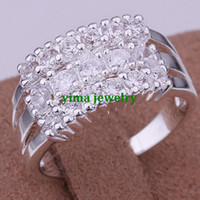 Wholesale R143 Fashion Jewelry White Topaz Gemstone Sterling Silver Plated Ring Size