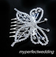 Wholesale New Arrival Cheap Butterfly Crown Combs Wedding Bridal Tiara Jewelry Crystal Hair Ornaments Wedding Dress Accessories