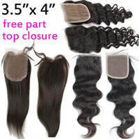 Wholesale 3 quot x quot Virgin Brazilian Hair Top Lace Closure body deep wave straight remy hair weave hairpieces natural b black color